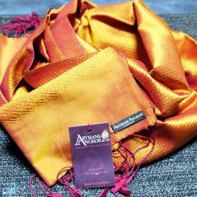 手織りシルクストール オレンジ